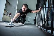 Frankfurt  13. April  2015 <br /> <br /> Fotoserie:  &quot;Geld ist nicht alles&quot;<br /> <br /> Marco Kromer wollte mit der Baufirma des Grossvaters nicht mehr beim Lohndumping in der Baubranche mitmachen. Konnte sich aber vom Beton nicht trennen und verarbeitet den jetzt mit grosser Experimentierfreude zu Fussb&ouml;den<br /> <br /> copyright: Alex  Kraus<br /> <br /> Alex Kraus // Grabig 9 // 97833 Frammersbach // tel. 0049160 94457749 // alex@kapix.de