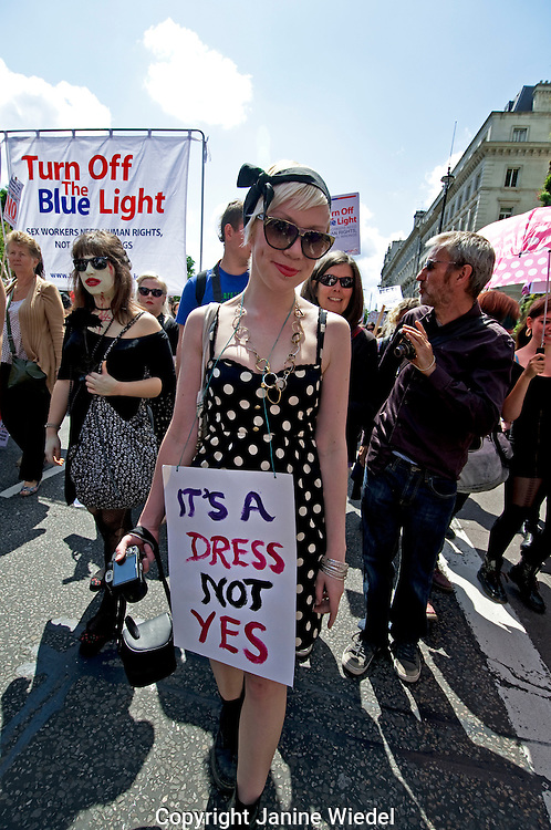 Slutwalk march against rape and sexual violence Central London