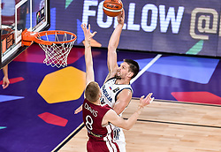 Gasper Vidmar of Slovenia vs Davis Bertans of Latvia during basketball match between National Teams of Slovenia and Latvia at Day 13 in Round of 16 of the FIBA EuroBasket 2017 at Sinan Erdem Dome in Istanbul, Turkey on September 12, 2017. Photo by Vid Ponikvar / Sportida