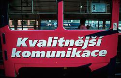 CZECH REPUBLIC PRAGUE JUL00 - A Prague tram carrying an advert for better quality communications, advertised by the Paegas Mobile telephone operator.. . jre/Photo by Jiri Rezac.  . © Jiri Rezac 2000. . Tel:   +44 (0) 7050 110 417. Email: info@jirirezac.com. Web:   www.jirirezac.com