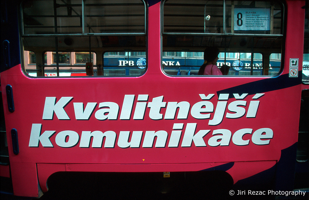 CZECH REPUBLIC PRAGUE JUL00 - A Prague tram carrying an advert for better quality communications, advertised by the Paegas Mobile telephone operator.. . jre/Photo by Jiri Rezac.  . © Jiri Rezac 2000. . Tel:   +44 (0) 7050 110 417. Email: info@jirirezac.com. Web:   www.jirirezac.com