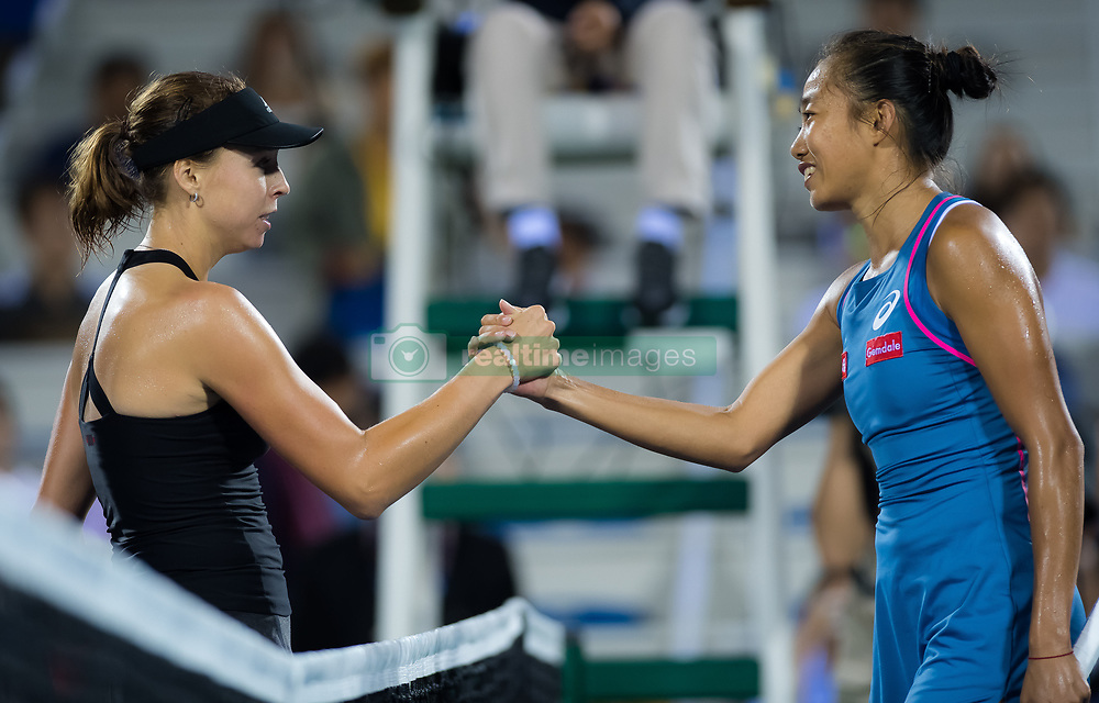 September 26, 2018 - Anett Kontaveit of Estonia & Shuai Zhang of China at the net after their third-round match at the 2018 Dongfeng Motor Wuhan Open WTA Premier 5 tennis tournament (Credit Image: © AFP7 via ZUMA Wire)