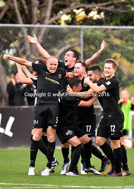 Team Wellington Celebrate a goal during the Premiership semi-final football match between Wellington & Waitakere at David Farrington Park in Miramar on Sunday the 26th March 2017. Copyright Photo by Marty Melville / www.Photosport.nz