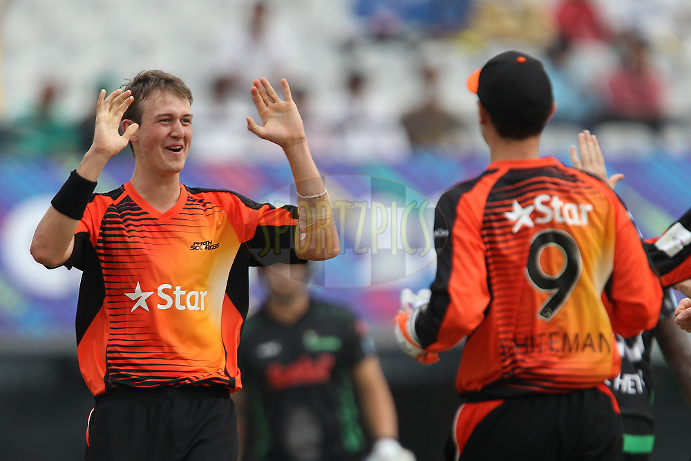 Joel PARIS celebrates the wicket of Cody CHETTY during match 4 of the Oppo Champions League Twenty20 between the Dolphins and the Perth Scorchers held at the Punjab Cricket Association Stadium, Mohali, India on the 20th September 2014<br /> <br /> Photo by:  Ron Gaunt / Sportzpics/ CLT20<br /> <br /> <br /> Image use is subject to the terms and conditions as laid out by the BCCI/ CLT20.  The terms and conditions can be downloaded here:<br /> <br /> http://sportzpics.photoshelter.com/gallery/CLT20-Image-Terms-and-Conditions-2014/G0000IfNJn535VPU/C0000QhhKadWcjYs