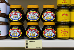 © Licensed to London News Pictures. 23/11/2018. London, UK.  'Brexmite' marmite and 'Conman's' mustard on a shelf inside the People's Vote campaign stunt pop-up shop in Peckham High Street on Black Friday to show that the government's Brexit deal is a bad deal and the shop is stocked with household products, such as 'chlorinated' chicken to illustrate the bad deal. Photo credit: Vickie Flores/LNP