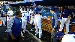 June 21, 2017 - Los Angeles, California, U.S. - Los Angeles Dodgers' Justin Turner right has a little fun tossing ice down the back of pitcher Hyun-Jin Ryu prior to a Major League baseball game against the New York Mets at Dodger Stadium on Wednesday, June 21, 2017 in Los Angeles. Los Angeles. (Photo by Keith Birmingham, Pasadena Star-News/SCNG) (Credit Image: © San Gabriel Valley Tribune via ZUMA Wire)