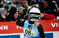 Chiara Hoelzl of Austria reacts during Team Competition at Day 2 of World Cup Ski Jumping Ladies Ljubno 2019, on February 9, 2019 in Ljubno ob Savinji, Slovenia. Photo by Matic Ritonja / Sportida