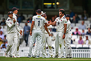 Wicket! Grant Stewart of Kent celebrates taking the wicket of Jamie Smith of Surrey during the Specsavers County Champ Div 1 match between Surrey County Cricket Club and Kent County Cricket Club at the Kia Oval, Kennington, United Kingdom on 7 July 2019.