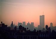 Lower Manhattan Skyline, Water Towers and Twin Towers, Manhattan, New York City, NY