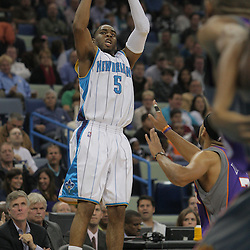 Nov 19, 2009; New Orleans, LA, USA;  New Orleans Hornets guard Marcus Thornton (5) shoots a three pointer in the second quarter against the Phoenix Suns at the New Orleans Arena. Mandatory Credit: Derick E. Hingle-US PRESSWIRE
