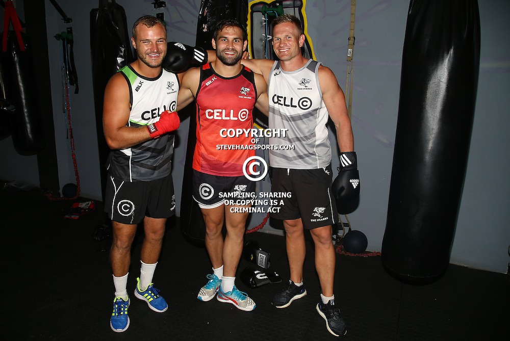 DURBAN, SOUTH AFRICA - JANUARY 16: Hanco Venter with Cobus Reinach and Michael Claassens during the Cell C Sharks boxing session at Domination on January 16, 2017 in Durban, South Africa. (Photo by Steve Haag/Gallo Images)