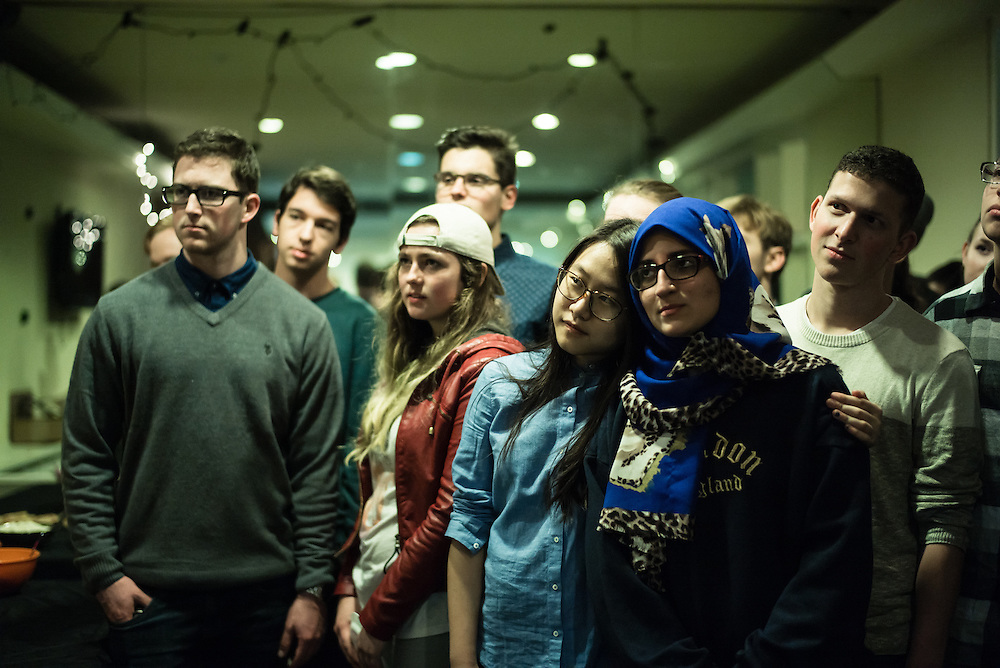 """SAN FRANCISCO, CA – JANUARY 14, 2016: Minerva college students enjoy authentic meals from their respective countries during a """"10:01"""" dinner in the San Francisco residence hall.<br /> <br /> Minerva is a unique 21st century university built on a global four-year education model. It is deliberately designed to enhance intellectual growth and prepare students for success in today's rapidly changing global context. Founded in 2014, the university targets the developing world's rising middle class who seek an elite American education. With a 2.8% acceptance rate among the founding class, Minerva is the most selective undergraduate program in U.S. history."""