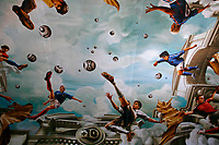 Photo: Glyn Thomas.<br />Germany v Italy. Semi Final, FIFA World Cup 2006. 04/07/2006.<br /> Germany's Michael Ballack portrayed as a footballing god in a mural in Cologne's main railway station.