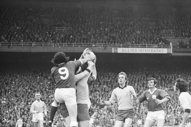 Four players all jump to grab the ball in the air during the All Ireland Senior Gaelic Football Championship Final Dublin V Galway at Croke Park on the 22nd September 1974. Dublin 0-14 Galway 1-06.