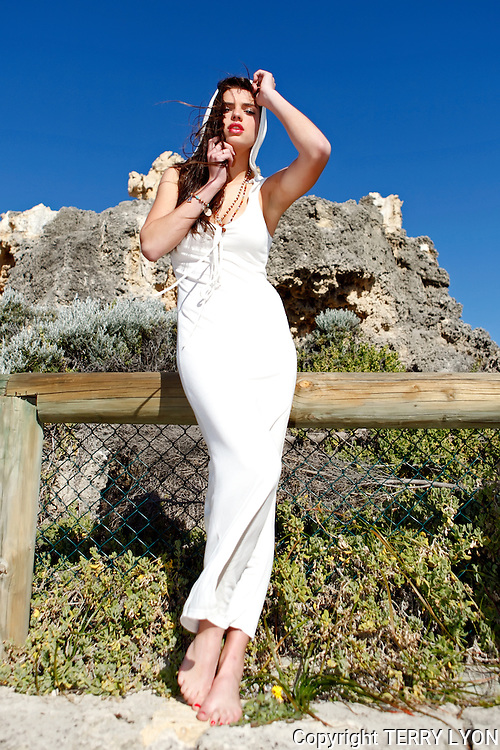 Buddha Soul fashion shoot Cottesloe Beach,Model Nicole H from Chadwick, Make up and Hair by Mike Boer, Photography by Terry Lyon, Client Amanda Battley, assistants Tanya and Shaun.
