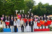Netherlands European Champions Stephanie Kooijman - Winston, Anne Meulendijks - President's Avanti, Debora Pijpers - Now i'm Here, Rosalie Mol - Legend<br /> FEI European Dressage Championships for Young Riders and Juniors 2013<br /> © DigiShots