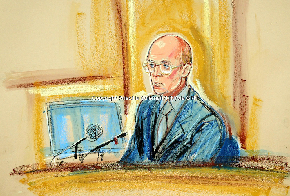 ©PRISCILLA COLEMAN (ITV): 26.08.03.SUPPLIED BY: PHOTONEWS SERVICE LTD:.ARTWORK SHOWS: JOHN SCARLETT ON THE STANDAT THE HUTTON INQUIRY AT THE HIGH COURT LONDON..ARTWORK BY: PRISCILLA COLEMAN (ITV)