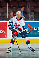 KELOWNA, CANADA - NOVEMBER 21:  Ryker Evans #41 of the Regina Pats warms up against the Kelowna Rockets on November 21, 2018 at Prospera Place in Kelowna, British Columbia, Canada.  (Photo by Marissa Baecker/Shoot the Breeze)