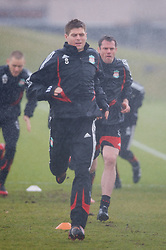 LIVERPOOL, ENGLAND - Friday, March 28, 2008: Liverpool's Fernando Torres and Jamie Carragher training at Melwood ahead of the Merseyside Derby match against Everton. (Photo by David Rawcliffe/Propaganda)