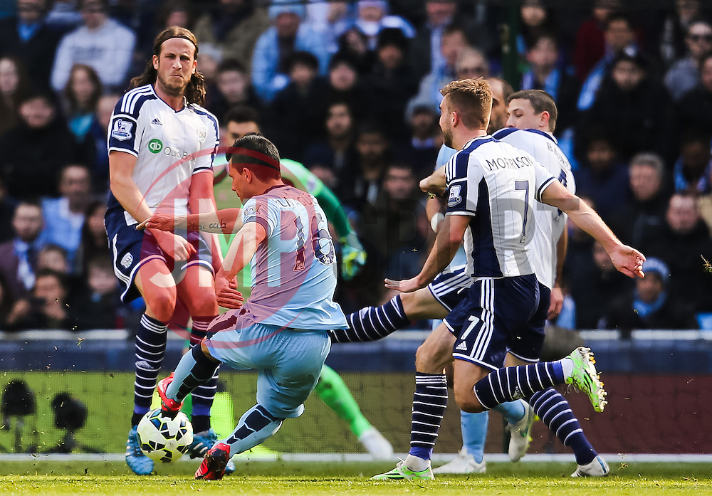 Manchester City's Sergio Aguero fires a shot towards goal   - Photo mandatory by-line: Matt McNulty/JMP - Mobile: 07966 386802 - 21/03/2015 - SPORT - Football - Manchester - Etihad Stadium - Manchester City v West Bromwich Albion - Barclays Premier League