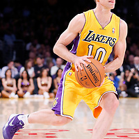 11 February 2014: Los Angeles Lakers point guard Steve Nash (10) eyes the basket during the Utah Jazz 96-79 victory over the Los Angeles Lakers at the Staples Center, Los Angeles, California, USA.
