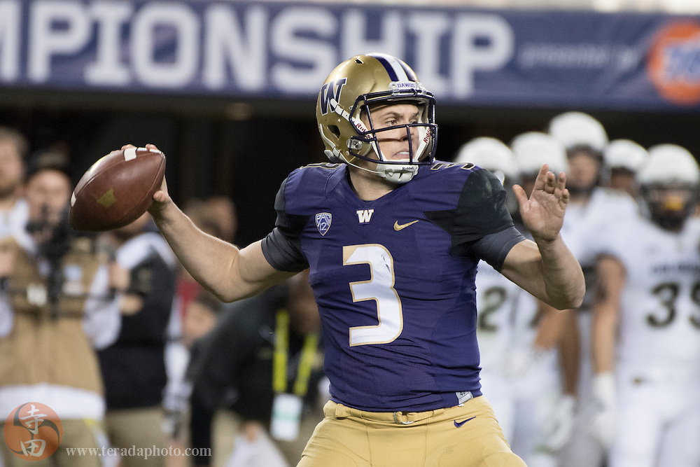 December 2, 2016; Santa Clara, CA, USA; Washington Huskies quarterback Jake Browning (3) during the third quarter in the Pac-12 championship against the Colorado Buffaloes at Levi's Stadium. The Huskies defeated the Buffaloes 41-10.