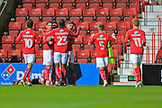 GOAL Swindon Town Darnell Furlong celebrates 1-0 during the EFL Sky Bet League 1 match between Swindon Town and Rochdale at the County Ground, Swindon, England on 18 October 2016. Photo by Daniel Youngs.