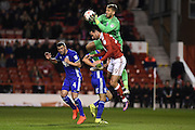 Birmingham City goalkeeper Adam Legzdins (1) catches the ball with Nottingham Forest forward Apostolos Vellios (39) closing in during the EFL Sky Bet Championship match between Nottingham Forest and Birmingham City at the City Ground, Nottingham, England on 14 October 2016. Photo by Jon Hobley.