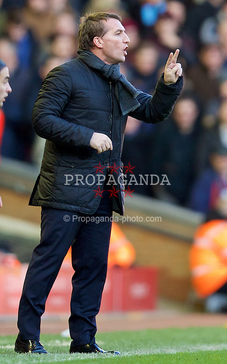 LIVERPOOL, ENGLAND - Saturday, January 31, 2015: Liverpool's manager Brendan Rodgers during the Premier League match against West Ham United at Anfield. (Pic by David Rawcliffe/Propaganda)