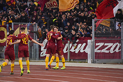 February 12, 2019 - Roma, Roma, Italia - Foto Luciano Rossi/AS Roma/ LaPresse.12/02/2019 Roma (Italia).Sport Calcio.AS Roma - Porto  .Uefa Champions League 2018 2019 - Stadio Olimpico di Roma.Nella foto: I giocatori della AS Roma festeggiano..Photo  Luciano Rossi/AS Roma/ LaPresse.12/02/2019 Roma (Italia).Sport Soccer.AS Roma - Porto   .Uefa Champions League 2018 2019 - Olimpic Stadium of Roma (Italy).In the pic: AS Roma players celebrate (Credit Image: © Luciano Rossi/Lapresse via ZUMA Press)