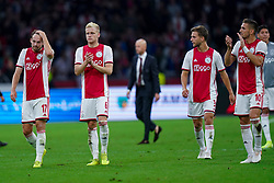 13-08-2019 NED: UEFA Champions League AFC Ajax - Paok Saloniki, Amsterdam<br />  Ajax won 3-2 and they will meet APOEL in the battle for a group stage spot / Daley Blind #17 of Ajax, Donny van de Beek #6 of Ajax, Joël Veltman #3 of Ajax