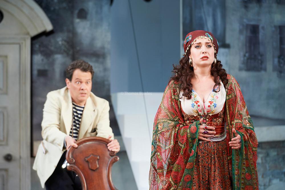 23nd June 2017.Il Turco in Italia, Rossini  at Garsignton Opera. <br /> <br /> Zaidi - Katie Bray<br /> Prosdocimo - Mark Stone