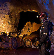 Remote control of a scoop tram inside a mine, Cienega, Durango, Mexico