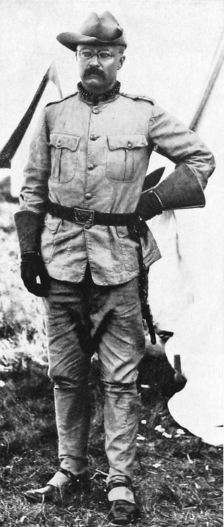 Theodore Roosevelt (1858-1919) in 1898 as commander of 'Roosevelt's Roughriders' in Cuban War. President of USA 1901-1912.
