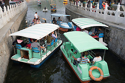 Many pleasure boats on Houhai and Qianhai Lake in Beijing China