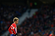 Atletico Madrid's French forward Antoine Griezmann reacts during the Spanish Championship Liga football match between Atletico de Madrid and Real Sociedad on December 2, 2017 at the Wanda Metropolitano stadium in Madrid, Spain - Photo Benjamin Cremel / ProSportsImages / DPPI