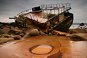 My first visit to this modern day shipwreck. I was delighted that I could get so close to this wreck and being alongside amongst giant granite boulders strewn with twisted metal and hull plates made me very aware of how powerful the sea really is. There was the constant creaking of metal from the sea adge as waves lifted and dropped sections of twisted metal as large as four men head to toe. It was actually a little eerie in this zawn of a dead ship surrounded by towering granite cliffs of Land's End.