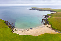 View of Skaw Beach on island of Unst on Shetland, Scotland, UK