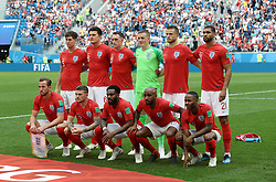 Back row, left to right, England's John Stones, Harry Maguire, Phil Jones, Jordan Pickford, Eric Dier and Ruben Loftus-Cheek. Front row, left to right, England's Harry Kane, Kieran Trippier, Danny Rose, Fabian Delph and Raheem Sterling line up before the FIFA World Cup third place play-off match at Saint Petersburg Stadium. PRESS ASSOCIATION Photo. Picture date: Saturday July 14, 2018. See PA story WORLDCUP Belgium. Photo credit should read: Aaron Chown/PA Wire. RESTRICTIONS: Editorial use only. No commercial use. No use with any unofficial 3rd party logos. No manipulation of images. No video emulation.