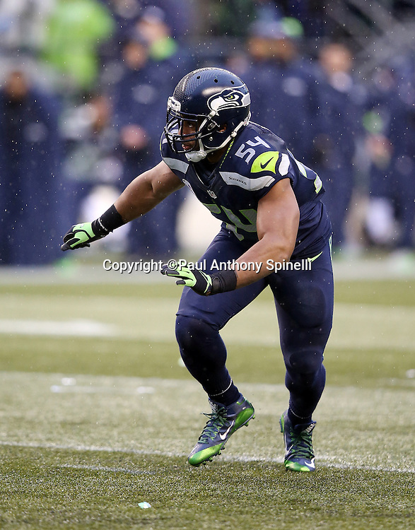 Seattle Seahawks middle linebacker Bobby Wagner (54) chases the action during the 2015 NFL week 16 regular season football game against the St. Louis Rams on Sunday, Dec. 27, 2015 in Seattle. The Rams won the game 23-17. (©Paul Anthony Spinelli)
