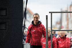 Ashleigh Moolman Pasio leads Cervêlo Bigla onto the stage at the Women's Ronde van Vlaanderen 2017 Team Presentation.