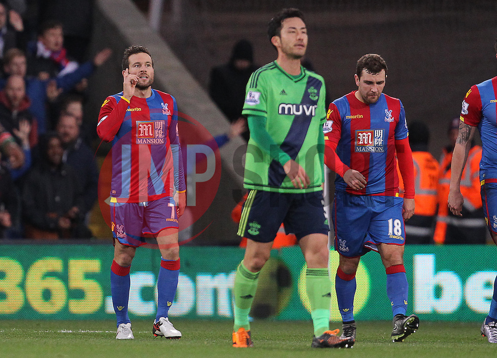 Yohan Cabaye ( L ) of Crystal Palace celebrates after he scores the opening goal of the match - Mandatory byline: Paul Terry/JMP - 12/12/2015 - Football - Selhurst Park - London, England - Crystal Palace v Southampton - Barclays Premier League