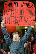 Bayern fan during the Champions League  Group F match between Arsenal and Bayern Munich at the Emirates Stadium, London, England on 20 October 2015. Photo by Alan Franklin.