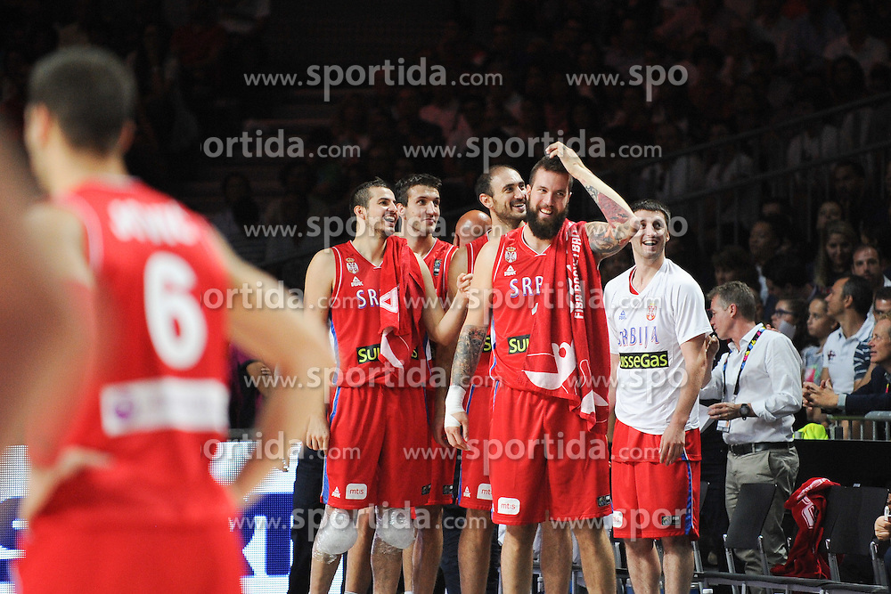 Players of Serbia during the 2014 FIBA World Basketball Championship Final match between USA and Serbia at the Palacio de los Deportes, on September 14, 2014 in Madrid, Spain. Photo by Tom Luksys  / Sportida.com <br /> ONLY FOR Slovenia, France