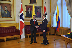 December 11, 2016 - Colombian President, Juan Manuel Santos  holds a  meeting with President of the Storting, Mr Olemic Thommessen and the supreme Standing Committee of Norway Foreign Affairs and Defence in Oslo (Credit Image: © Abdelwaheb Omar/ImagesLive via ZUMA Wire)