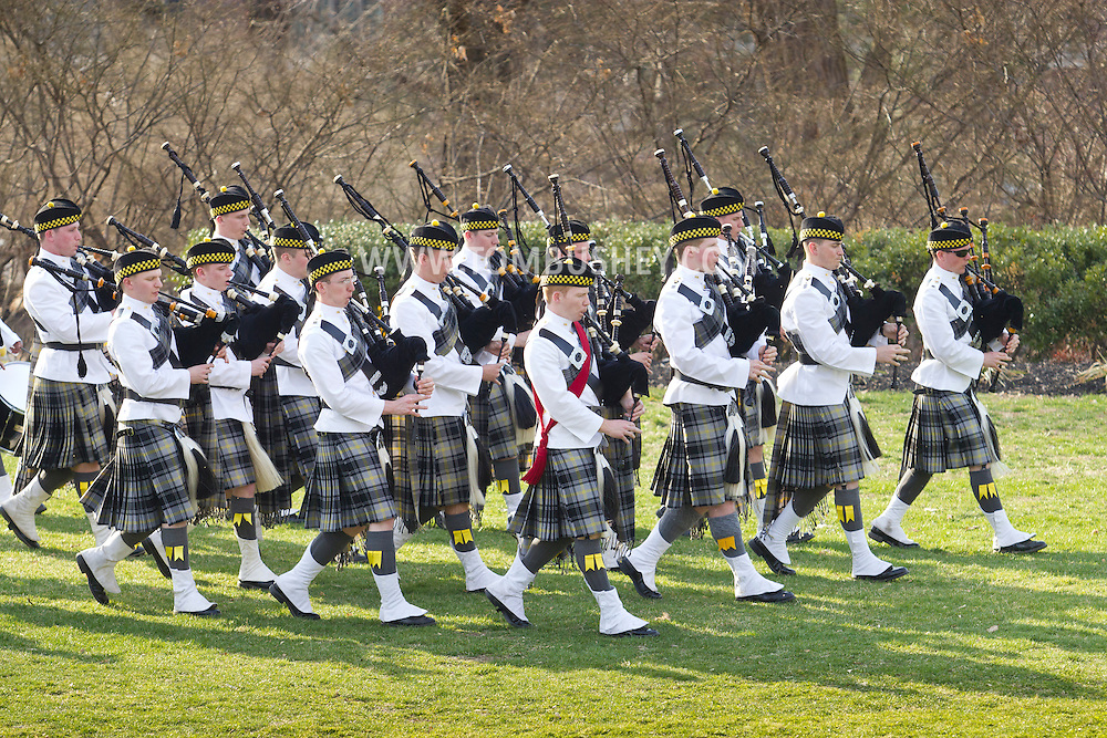 West Point, New York - The United States Corps of Cadets Pipes & Drums perform at the 32nd annual West Point Military Tattoo at Trophy Point on  April 13, 2014. The United States Corps of Cadets Pipes & Drums is a bagpipe, drum, and dance ensemble at the USMA.