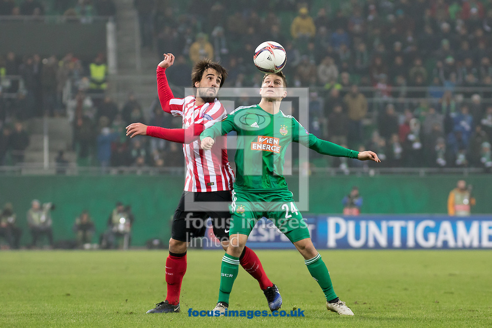 Stephan Auer of Rapid Vienna and Benat Etxebarria of Athletic Bilbao during the UEFA Europa League match at Allianz Stadion, Vienna<br /> Picture by EXPA Pictures/Focus Images Ltd 07814482222<br /> 08/12/2016<br /> *** UK &amp; IRELAND ONLY ***<br /> <br /> EXPA-PUC-161208-0258.jpg