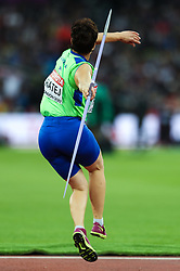 London, August 08 2017 . Martina Ratej, Slovenia, in the women's javelin final on day five of the IAAF London 2017 world Championships at the London Stadium. © Paul Davey.
