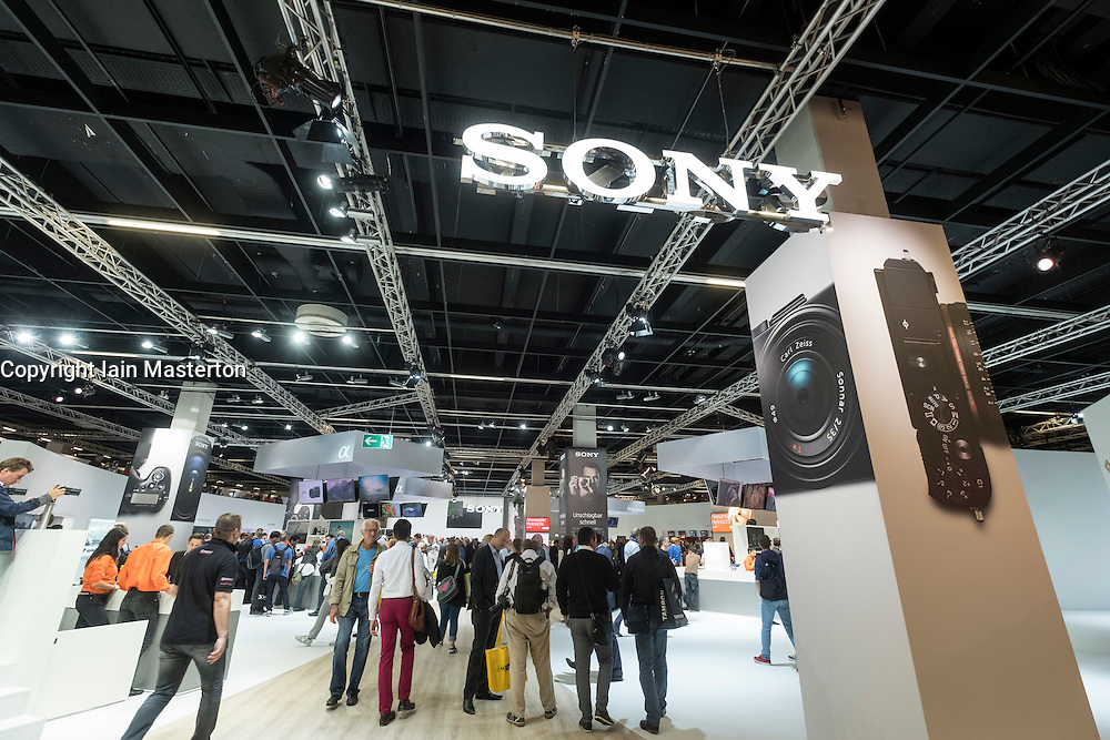 Busy Sony stand at Photokina trade fair in Cologne, Germany , 2016