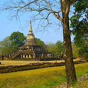 Wat Chang Lom in Si Satchanalai, Sukhothai Province. The Sukhothai kingdom was an early Thai kingdom in north central Thailand. It existed from during the 13, 14, 15th centuries The.old capital is in ruins and is a Historical Park..View from Feb, 2007.